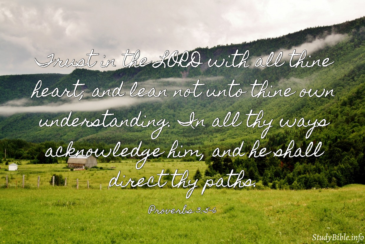 Trust in the LORD with all thine heart; and lean not unto thine own understanding. In all thy ways acknowledge him, and he shall direct thy paths. Proverbs 3:5-6