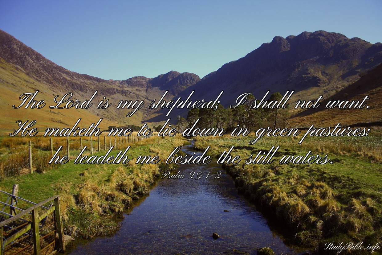 The LORD is my shepherd; I shall not want. He maketh me to lie down in green pastures: he leadeth me beside the still waters. Psalm 23:1-2